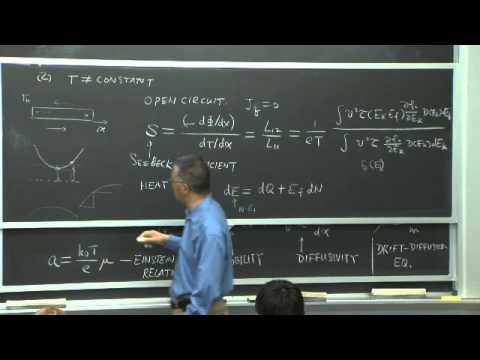 Lecture 18: Electron Transport and Thermoelectric Effects