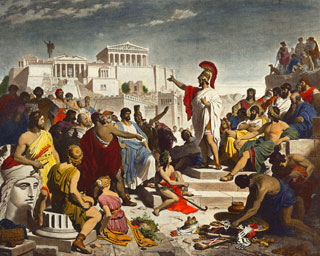A muscular man wearing a toga and helmut speaks to a crowd gathered at the Acropolis of Athens.