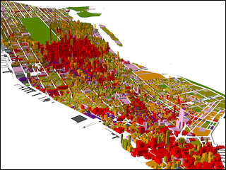 A brightly colored image of virtually-generated buildings and streets.